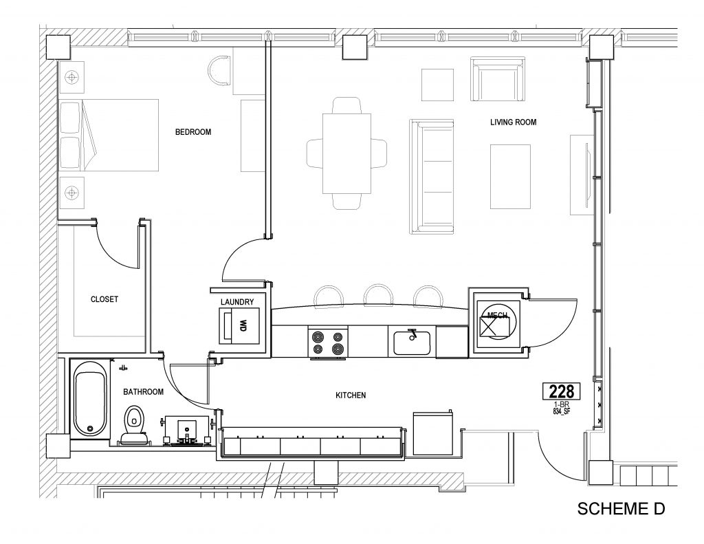 Heberle Lofts apartment - typical apartment unit - scheme D